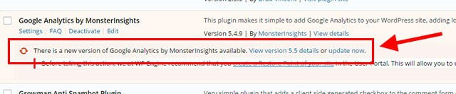 wix vs WordPress - plugin update